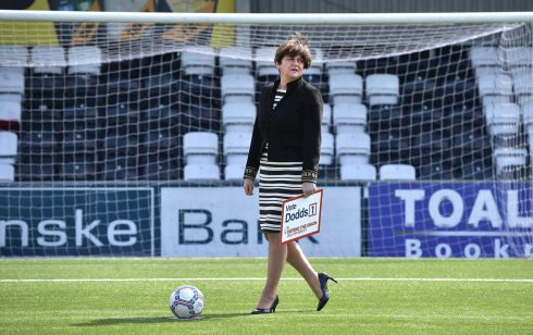 RACE FOR EUROPE: Democratic Unionist Party leader Arlene Foster at the launch of the party's European Parliament election manifesto at Crusaders' Seaview stadium in Belfast. Photograph: Charles McQuillan/Getty Images