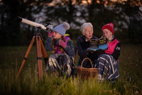 BRIGHT SPARKS: Aoibhlinn Steger (9) and her 11 year-old sister, Ailbhe, examining the night sky as part of the new Stargazing in the Blackstairs experience, from Mary and Robert White at Blackstairs Eco Trails in Borris, Co Carlow. Photograph: Dylan Vaughan