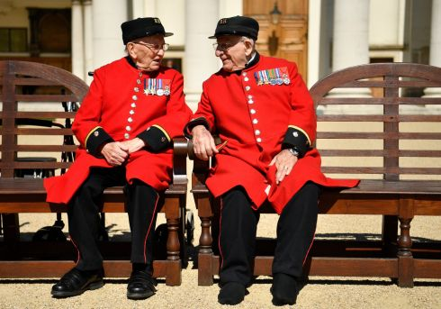 REMEMBER WHEN... Chelsea Pensioners who are Battle of Normandy and D-Day veterans Bill Fitzgerald and George Skippe at the Royal Chelsea Hospital in London. World leaders are to attend memorial events in Normandy, France on June 6th. Photograph: Neil Hall/EPA