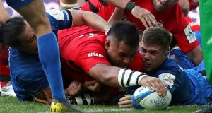 Saracens' Billy Vunipola scores their second try. Photograph: Lee Smith/Reuters