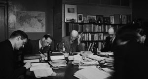 A meeting of the board of directors at publishing house Faber & Faber in 1944 to discuss how best to use their paper ration. Photograph: Getty Images