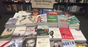 "A  display of ""sports writing at its finest"" in a large Dublin bookshop.  None of the 30 or so books were  by women authors or about female athletes."