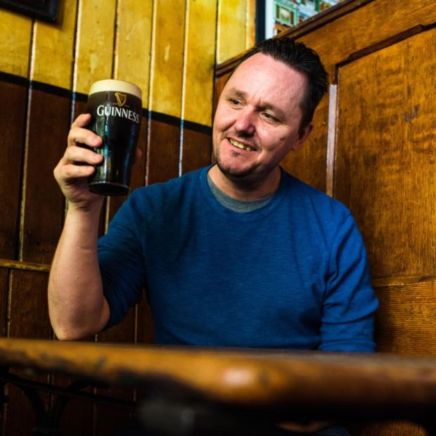 Pub crawl: Sean Muldoon at the Gravediggers in Glasnevin, in Dublin. Photograph: Elaine Hill