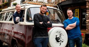 Pub crawl: Tim Herlihy, Jack McGarry and Sean Muldoon with their VW, Poppy, outside the Duke of York in Belfast. Photograph: Elaine Hill