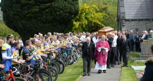 A guard of honour was formed by members of Drogheda Wheelers, Navan Road Club and two cycling clubs in Ashbourne, at the funeral of Seán Lynch, who died from injuries suffered during the race, at The Church of the Immaculate Conception, Rathfeigh, Co Meath. Photograph: Dara Mac Dónaill