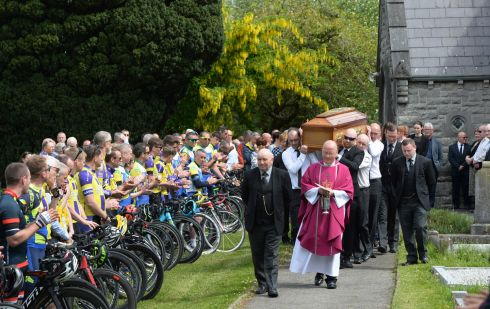 A guard of honour was formed by members of Drogheda Wheelers, Navan Road Club and two cycling clubs in Ashbourne, at the funeral of Sean Lynch in the Church of the Immaculate Conception, Rathfeigh, Co. Meath. He died after a cycling accident during a race in which he was competing earlier this month. Photograph: Dara Mac Donaill/The Irish Times