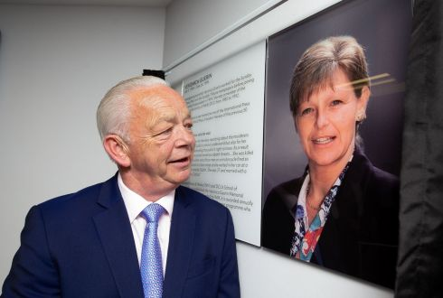 Jimmy Guerin, brother of the late  Veronica Guerin, at a plaque of  Veronica Guerin in DCU which is to name a lecture theatre in her honour. Photograph: Tom Honan/The Irish Times.