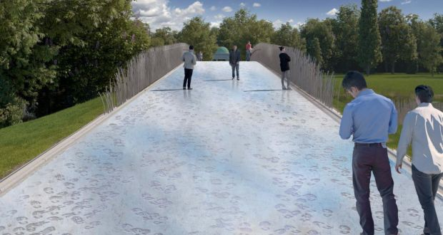 The design for the bridge at the National War Memorial Gardens at Islandbridge in Dublin. It will be lined with stainless steel reed-like balustrades, while the surface will be imprinted with representations of soldiers' boots