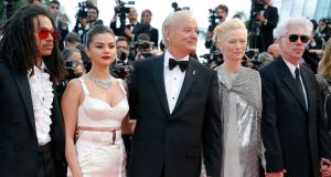 Luka Sabbat, Selena Gomez, Bill Murray, Tilda Swinton and  director Jim Jarmusch arrive for the screening of The Dead Don't Die, the opening film of this year's Cannes festival. Photograph:  Julien Warnand/EPA