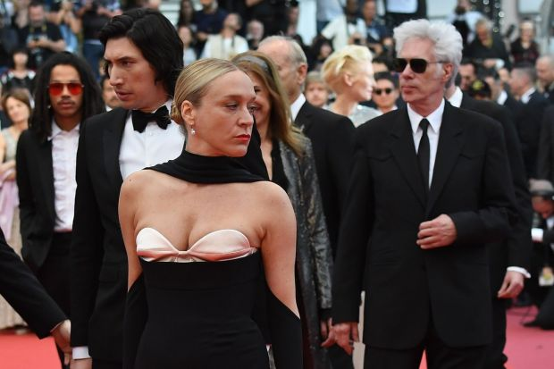 Chloë Sevigny with Adam Driver (left) and Jim Jarmusch arrive for the screening The Dead Don't Die at the Cannes film festival. Photograph: Loic Venance/AFP/Getty Images