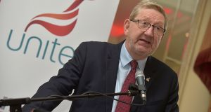 Unite general secretary Len McCluskey speaks at the trade union's policy conference in Malahide, Dublin. Photograph: Tommy Cancy.