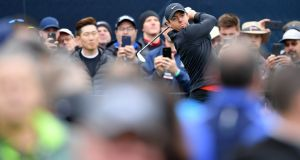 Rory McIlroy plays a tee shot during a practice round prior to the 2019 PGA Championship at Bethpage Black in Bethpage, New York. Photo: Stuart Franklin/Getty Images