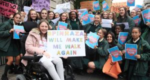 Lauren  Whelan (15) from Loreto Crumlin in Dublin has SMA with Spinraza activists protesting outside Leinster House in Dublin in September 2018. File photograph: Garrett White/Collins Photo Agency
