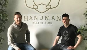 Eoghan O'Kelly and Séamus Keane inside the Hanuman Health Club Gym Space they run in Manhattan, New York City