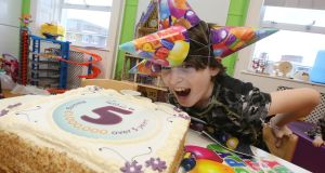 Liam Clements (10)  celebrating Techies4TempleStreet's fifth birthday