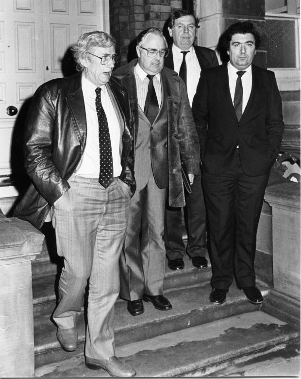 From left: SDLP members Seamus Mallon, Joe Hendron, Eddid McGrady and John Hume leave the Department of Foreign Affairs in Dublin following a meeting with then-taoiseach Garrett FitzGerald on November 12th, 1985. Photograph: Jack McManus/The Irish Times