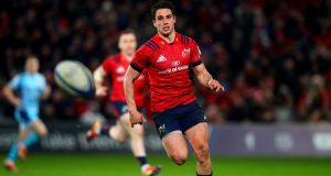 Munster's Joey Carbery in action during their Heineken Champions Cup round 6 match against Exeter Chiefs in Thomond Park, Limerick in January. Photograph: Oisin Keniry/Inpho