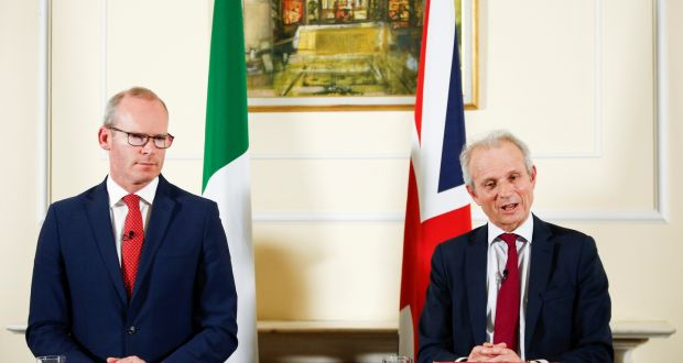 Tánaiste Simon Coveney and David Lidington, the UK's de facto deputy prime minister. Photograph: Henry Nicholls/Reuters