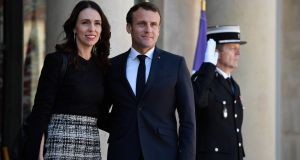 French president Emmanuel Macron and New Zealand's prime minister Jacinda Ardern launched the Christchurch appeal to tackle violent extremist content online. Photograph: Julien De Rosa/EPA