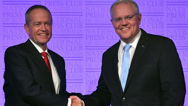Bill Shorten shakes hands with Australian prime minister Scott Morrison (right) before a debate at the National Press Club in Canberra, Australia on May 8th. Photograph: Mick Tsikas/EPA
