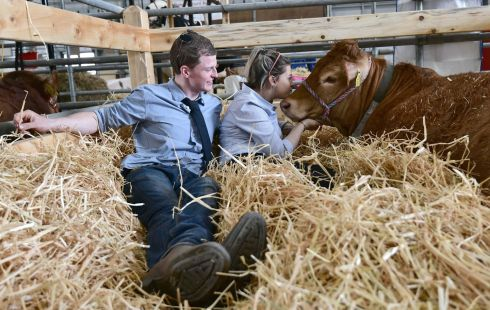 HIT THE HAY: Katie Millar with Gareth Elliott at the opening day of the Balmoral Show outside Lisburn, Co Antrim. Tens of thousands of people are expected to attend Ireland's largest agricultural and food show, over the next four days. Photograph: Colm Lenaghan/Pacemaker
