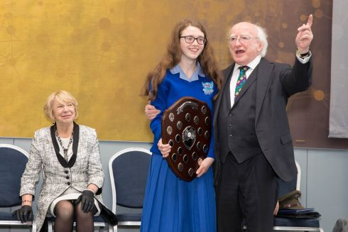 SHARP MIND: Winner of the Irish Young Philosopher Awards Arthur Cox Grand Prize 2019 Lauren Doyle with President Michael D Higgins for her project 'Why is nature beautiful and why do we destroy it?' Photograph: Conor Healy/Picture It Photography