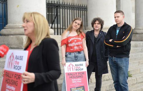 RAISE THE ROOF: Frances Black, being interviewed with writer Grace Dyas and musicians Paddy Casey and Damien Dempsey, outside the Custom House in Dublin. They were lending their support to the Raise the Roof Housing Rally, which will take place in Dublin this Saturday. Photograph: Dara Mac Donaill