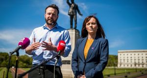 SDLP leader Colum Eastwood and party colleague Nicola Mallon: the party formed a partnership with Fianna Fáil earlier this year. Photograph: Liam McBurney/PA Wire