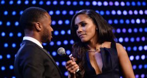Alex Scott interviews Raheem Sterling at the BT Sport Industry awards. Photograph: Jeff Spicer/Getty