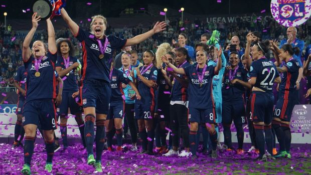1b60be801 Olympique Lyonnais players celebrate their Women s Champions League win  over VFL Wolfsburg at Kyiv in May