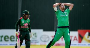 Mark Adair reacts during Ireland's defeat to Bangladesh. Photograph: Oisin Keniry/Inpho