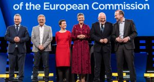 Candidates to succeed Jean Claude Juncker as European Commission president gather before their debate at the European Parliament in Brussels on Wednesday. (From left) Jan Zahradil, Nico Cué, Ska Keller,  Margrethe Vestager, Frans Timmermans  and Manfred Weber. Photograph: Geert Vanden Wijngaert/Bloomberg