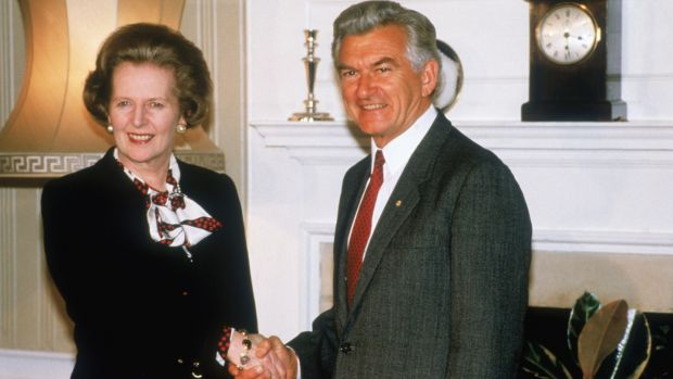 Bob Hawke with then prime minister Margaret Thatcher at 10 Downing Street in 1986. Photograph: Fox Photos/Hulton Archive/Getty Images
