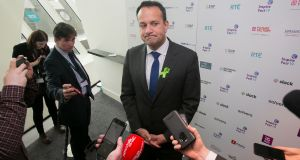 Taoiseach Leo Varadkar speaking to reporters at  Inspirefest  in Dublin's Bord Gáis Energy Theatre, Dublin. Photograph:  Collins