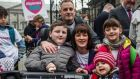 Sam Bailey from Rathcoole, Co Dublin, his father Paul, mother Fiona and sisters Kayla and Sarah, protesting over the HSE's decision not funding the drug Spinraza, outside the Dáil in February. Photograph: James Forde
