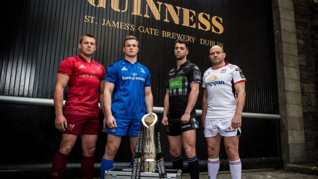 Munster's CJ Stander, Leinster's Josh van der Flier, Glasgow's Adam Hastings and Ulster's Rory Best. Photograph: Billy Stickland/Inpho