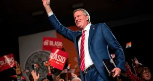 New York City mayor Bill de Blasio waves to supporters during his election night event in New York in 2017. File photograph:  Jewel Samad/AFP/Getty Images