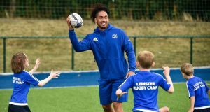 Sport for all: Leinster rugby player Joe Tomane at the Bank of Ireland Leinster Rugby Summer Camp at Energia Park in Donnybrook, Dublin. Photograph: Piaras Ó Mídheach/Sportsfile