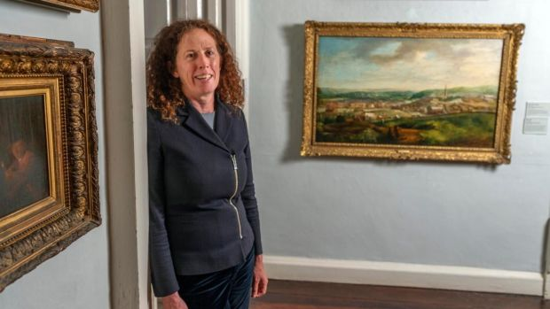 Crawford Gallery director Mary McCarthy with John Butt's painting View of Cork from Audley Place. Photograph: Daragh McSweeney/Provision
