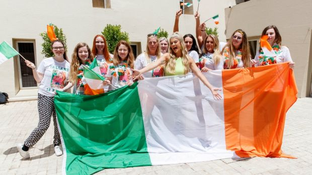 Irish Eurovision entry Sarah McTernan's family and friends gathered at her hotel to wish her well before tonight's semifinal. Photograph: Andres Poveda