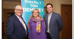 Fine Gael candidate Tom Dempsey (left) with MEP Mairead McGuinness and Kildare South TD Martin Heydon. 'I have atoned and made a fresh start,' says Mr Dempsey.