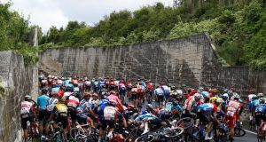 Riders crash during stage six of the  Giro d'Italia from Cassino to San Giovanni Rotondo. Photograph: Luk Benies/AFP/Getty Images
