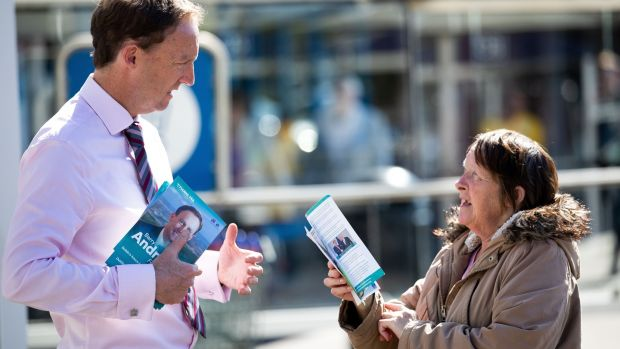 Fianna Fáil's Barry Andrews talks to Shelia Fallon from Malahide Road while canvassing for European Parliament elections in Artane. Photograph: Tom Honan/The Irish Times.