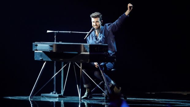 Duncan Laurence of the Netherlands performs during the 2019 Eurovision Song Contest. Photograph: AP Photo/Sebastian Scheiner