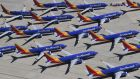 Grounded Southwest Airlines' Boeing 737 Max aircraft parked  at Southern California Logistics Airport