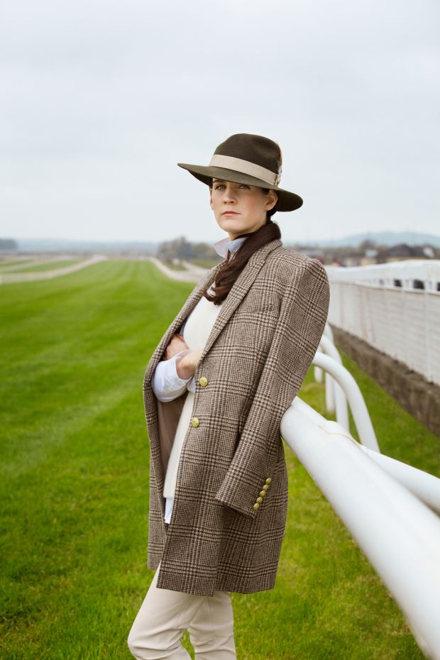 Rachael Blackmore: tweed coat, Holland Cooper, €499; lambswool sweater, €395; longline white shirt, Aquascutum, €100; cream leather trousers, Reiss, €420; tan loafers, Dune, €70; trilby, Holland Cooper, €99