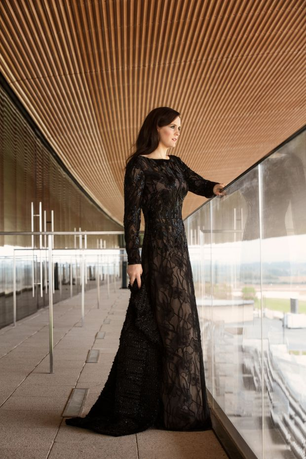 Rachael Blackmore: black lace and beaded evening gown with keyhole back detail, Escada, €1,589