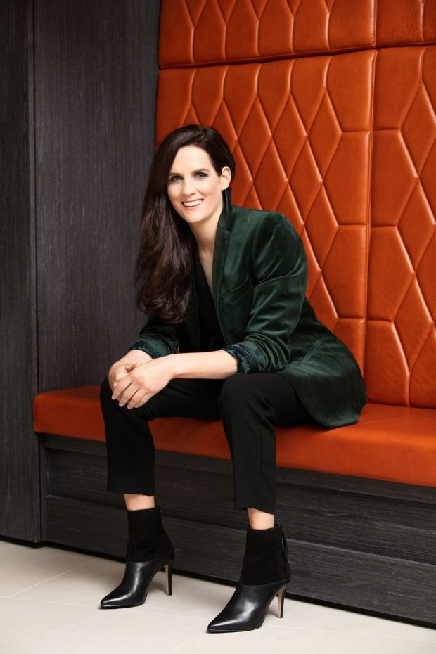Rachael Blackmore: green velvet dinner jacket by Moss, Savoy Tailors Guild, €76; tuxedo belted jumpsuit, LK Bennett, €235; suede and leather ankle boots, Reiss, €150