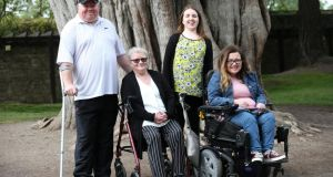 From left: Users of the Irish Wheelchair Association's services,  James Carolan, Mary Lynch, Kayleigh McKevitt and Ali Molloy  in the Phoenix Park ahead of the Irish Wheelchair Association's garden opening at the Bloom Festival on the June Bank Holiday weekend. Photograph: Laura Hutton/The Irish Times