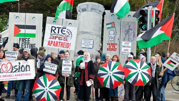 The Musicians' Union of Ireland and the Ireland-Palestine Solidarity Campaign call for RTÉ to boycott the Eurovision song contest in Israel. Photograph: Dave Meehan
